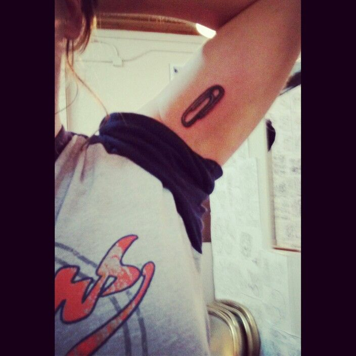 4ce65cb89 Paperclip tattoo. I actually have this on me. One of my favorites. #tattoo # paperclip #keepittogether | I want this on me. | Tattoos, Paper clip,  Piercings