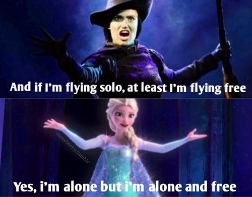 Elsa and Elphaba are very simliar. Including their songs, and storyline. But both are different enough so it's not the same story again. Ah, Disney rules. :)