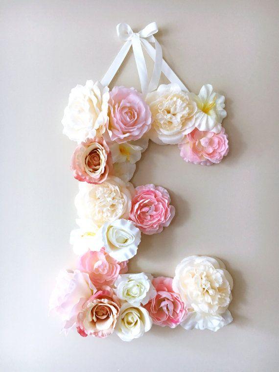 Flower Letters Floral Letters Vintage wedding decor by PaulettaStore