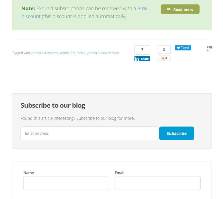 """Don't want to miss our latest articles and tutorials?  Go to any blog post http://bit.ly/1NTkA0I, scroll down and """"Subscribe to our blog!"""" Subscribe now via email and get notified of latest #RSJoomla! news every week."""