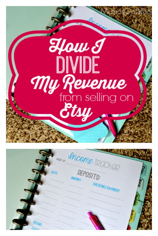 How I Divide My Revenue From Selling on Etsy a FREE Printable to track your income, taxes, marketing budget, and more!