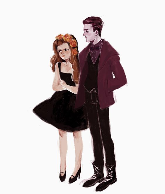 """➶➴➶➴➶i decided to draw these two again eep they're too fun i imagine persephone to be really hot-headed and she picks fights wherever they go like """"do you know who you're talking to??? i'm the queen of the underworld you punk!!"""" and hades is just like perse no not again"""