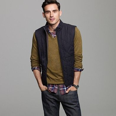 Fall wardrobe staples for the Tim. Plaid.Mustard.Dark jeans.Vest.Sexy half smile.