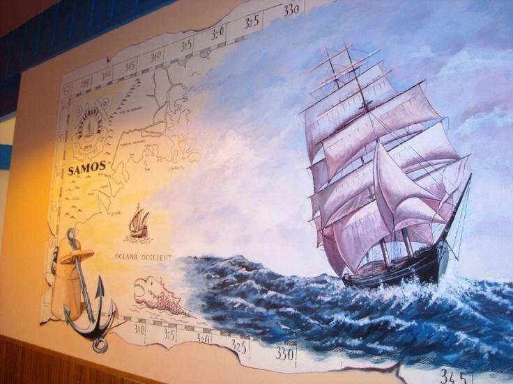 Nástěnná malba - 270 x 70 cm - restaurace Samos Klánovice.