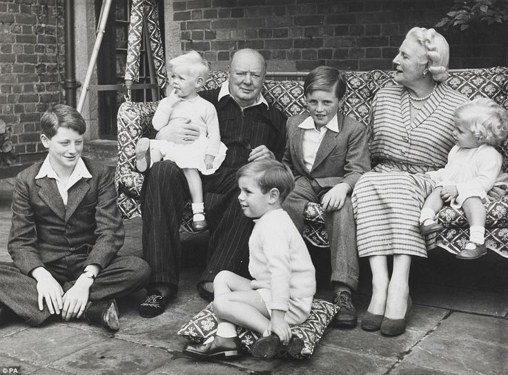 Family man:Sir Winston Churchill is pictured with his family at Chartwell House, Kent, in 1951, the year he won re-election as Prime Minister