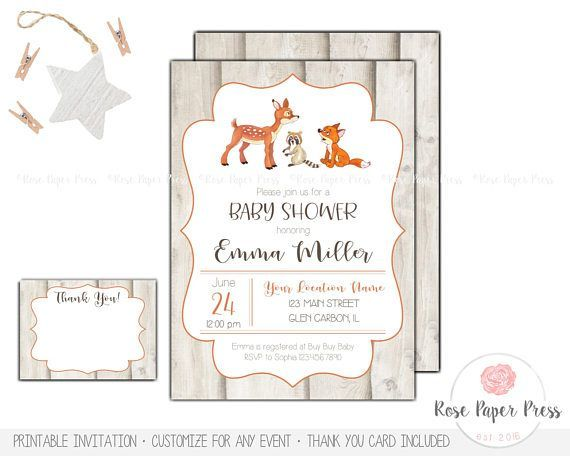 Woodland Animal Baby Shower Invitation Set | Custom Printable Invitation | Thank You Card | Animal Invitation | Gender Neutral Baby Shower  This invitation is an original design of Rose Paper Press, personalized for your event. All colors, wording, and font can be customized. This is a high-resolution (300 dpi) digital file ready for you to print yourself. You will not receive any printed items with this purchase.  | WHAT'S INCLUDED | • Baby Shower Invitation – 5x7 size • Thank You Card –…