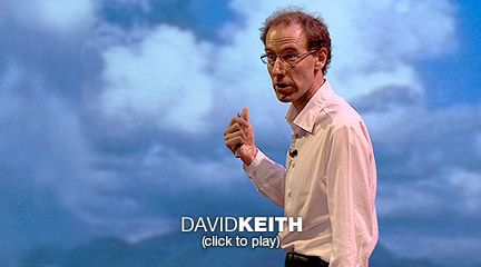 David Keith's unusual climate change idea  Environmental scientist David Keith proposes a cheap, effective, shocking means to address climate change: What if we injected a huge cloud of ash into the atmosphere to deflect sunlight and heat?