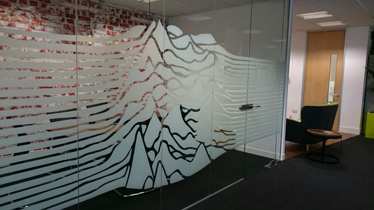 Really cool Joy Division themed office window glass manifestation.