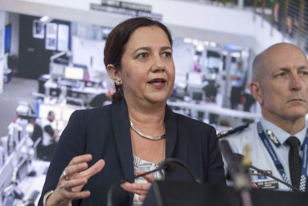 Queensland Premier Annastacia Palaszczuk speaks to the media at the State Disaster Coordination Centre where Tropical Cyclone Marcia is being monitored.