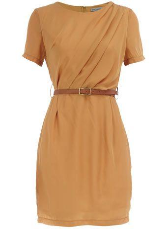 Mustard pleated dress, $55