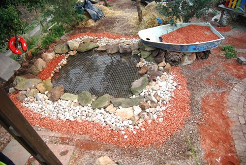Aquaponics pond made out of recycled materials backyard for Koi aquaponics