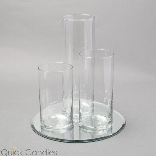 Eastland Round Mirror and Cylinder Vase Centerpiece Set of 3 | Quick Candles