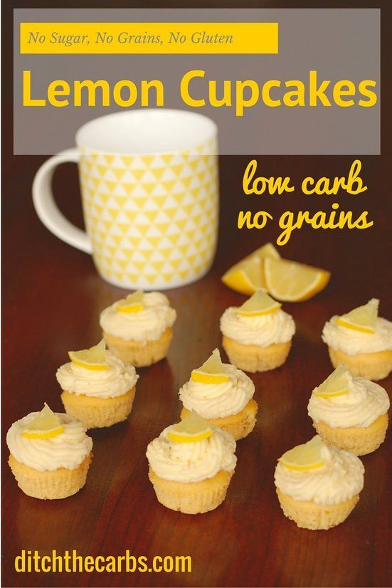 Amazing low carb lemon cupcakes. Pin this to make soon. No sugars, no grains, gluten free, healthy simple recipe. Too cute! #sugarfree #lchf | ditchthecarbs.com