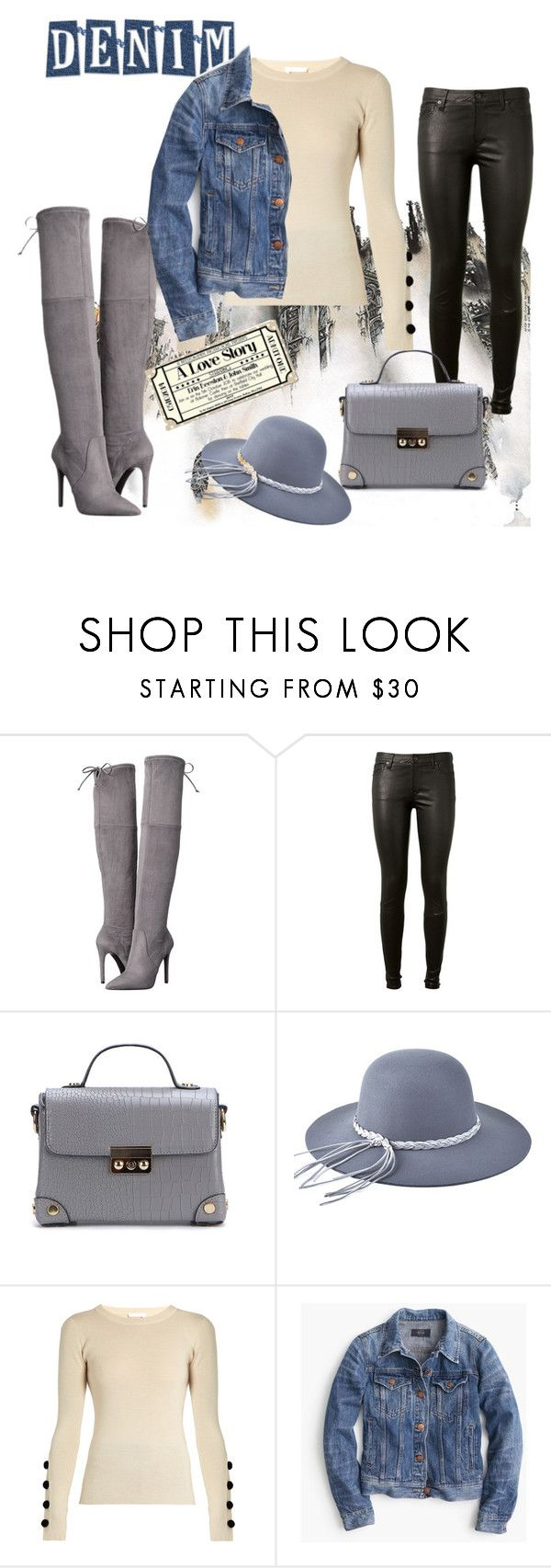 """denim"" by keepitrealforme ❤ liked on Polyvore featuring GUESS, AG Adriano Goldschmied, See by Chloé and J.Crew"