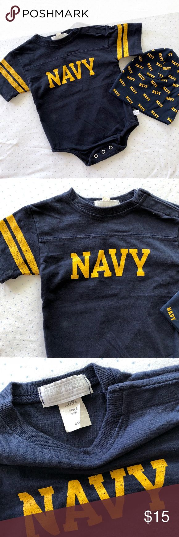 US Navy Baby Onesie and Beanie Set US Navy Baby Onesie and Beanie set by Thirst Street. Only used once. Dark blue color size 6m. Comes from a smoke free pet free home. bundle with my other items to save money, going minimalist taking most offers. third street One Pieces