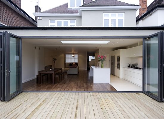 Simple well-detailed Flat Roof extension with bi-folding doors. Would you like something similar? CLICK http://www.hollandgreen.co.uk/house_extensions#.U_L9sPldU7k to find out how.