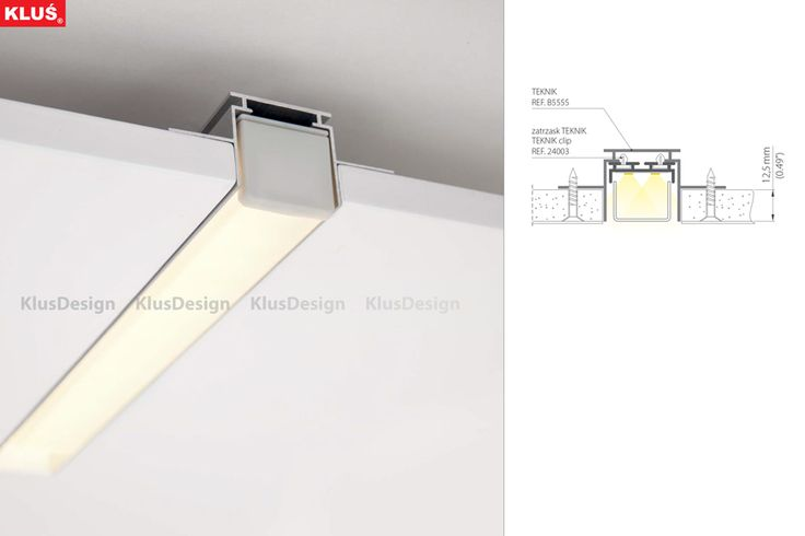http://www.klusdesign.pl/products/show/19 GIP fixture mounted to the surface GIP fixture mounted to drop ceiling with the use of mounting springs. System enables creation and custimization of individual lighting configurations. Max leght of the GIP fixture - 2m.