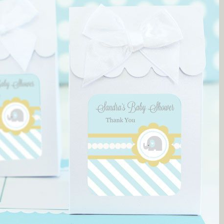 Sweet Shoppe Candy Boxes - Blue Elephant (set of 12). Customize your baby shower dessert or candy buffet with these Blue Elephant Candy Boxes. Personalize your adorable, elephant adorned labels with your baby boy's name and due date for a completely custom party favor your guests will love. Due the personalization for this product, the minimum order is 2 sets. Candy Boxes arrive separately from the labels and satin bows. Some assembly required: assembling boxes and affixing labels and bows…