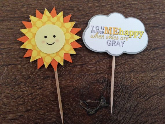You are my Sunshine Cupcake Toppers Set of 15 by FestivaPartyDesign, $15.00