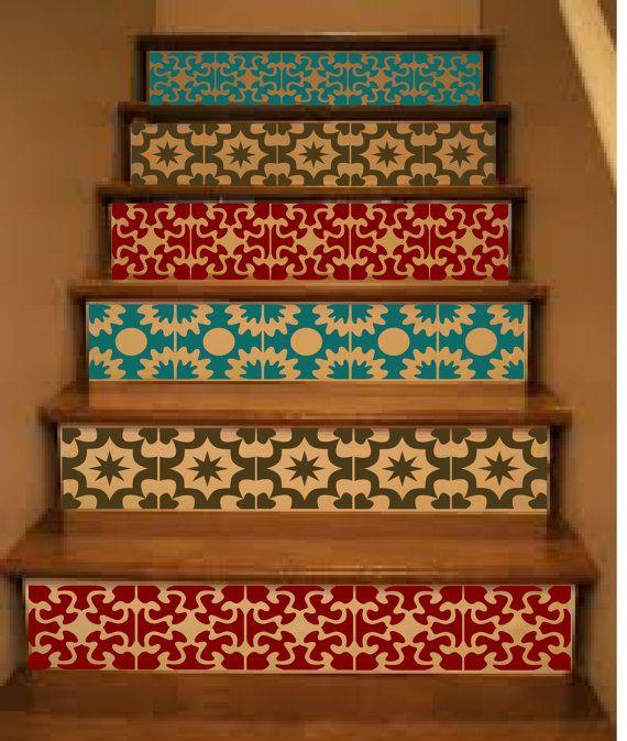 Vinyl Stair Tile Decals Hacienda Spanish Style Staircase