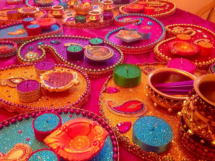 Mehndi Party Decorations : Multi coloured mehndi plates see my facebook page