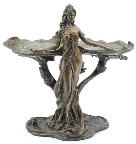 Lady with Lotus Leaf Jewellery Tray Veronese Bronze Figurine Statue Women