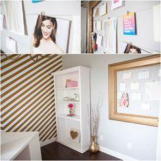 Home-office: chevron + dourado
