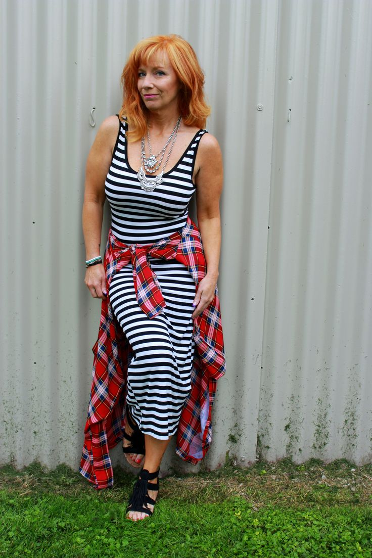 How to style clothes that are seasonless. Fashion Fairy Dust style blog.                       striped dress, plaid duster, fringe sandals