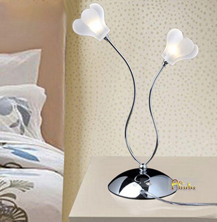 Nordic Modern Table Lamp Glass Flower Desk Used In Bedroom Nightstand Office