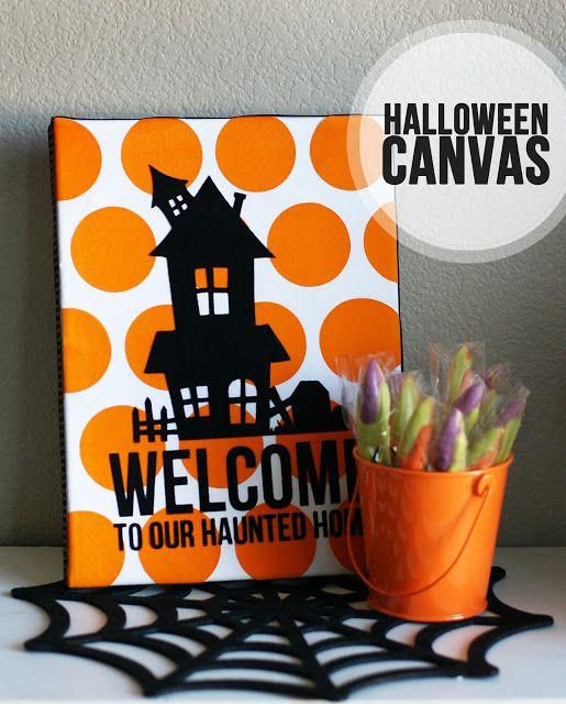 What a cute idea for Halloween vinyl on canvas ...
