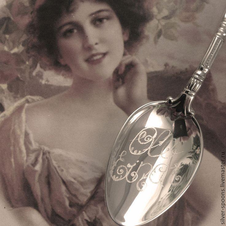 """Купить Серебряная кофейная ложка """"Ампир"""" со сложной гравировкой на черпале - монограмма, подарок на крестины"""