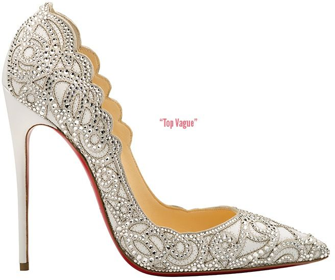 Top Vague pointed-toe leather pump covered in tonal stitched lace with scalloped edging and embellished with crystals throughout; available at Christian Louboutin