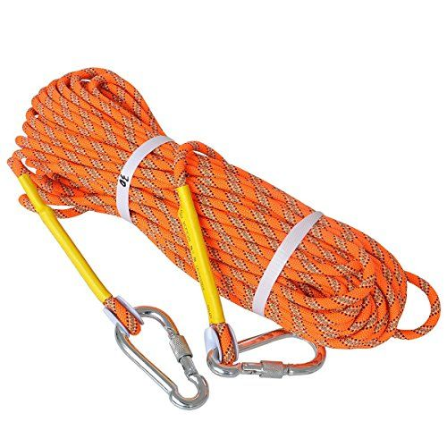 Outdoor Climbing Rope - LUOOV 10M(32ft) 20M(64ft) 30M (98ft) 50M (160ft)Safe Utility Rope,Rock Escape Rope,Static Rope,8mm Diameter Rope  Outdoor Rope Escape Rope Equipment Fire Rescue Parachute Rope Safety Rope Durable General Purpose Utility Rope -3/8 Inch  Application: Escape, Fire Survival, Backup, Climbing, Hiking, Camping, Downhill, Engineering protection, Lanyard, Tree Stand Accessories, Training, Aloftwork, Caving, Abseiling, etc.  Lightweight without sacrificing performance  F...