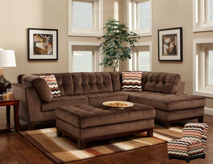 Comfortable Large Sectional Sofas Furnitures Living Room Elegant Brown L Shaped Tufted Sofa With Chaise And Fabrics Sheet For