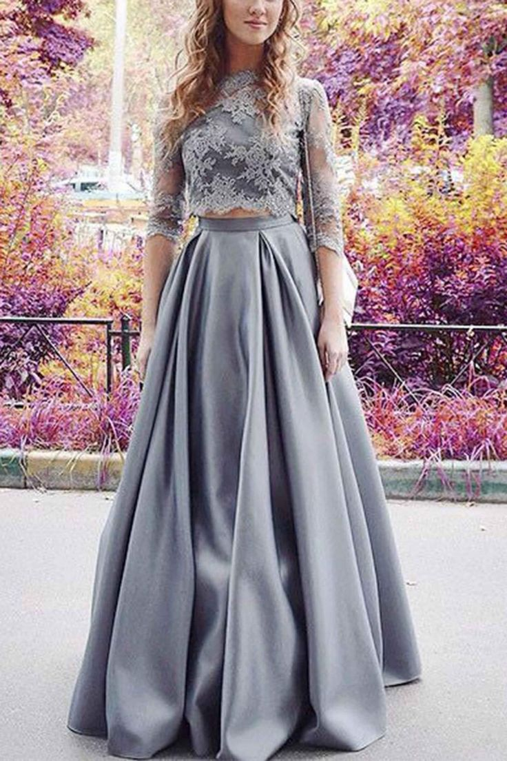Modest prom dress, ball gown, gray chiffon lace long evening dress with half sleeves, prom dresses for teens