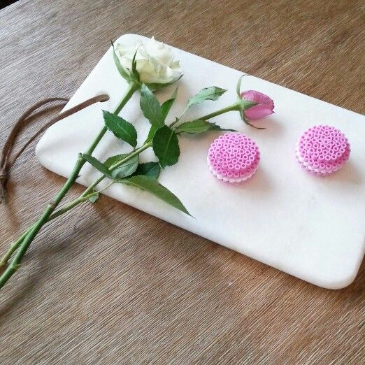Hama Beads macaroons on a marble plate.