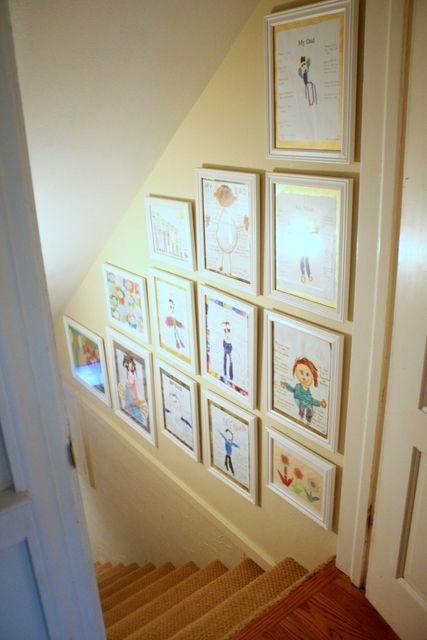 Childrenu0027s Artwork Hung On Stairway Wall (Clover Lane ...