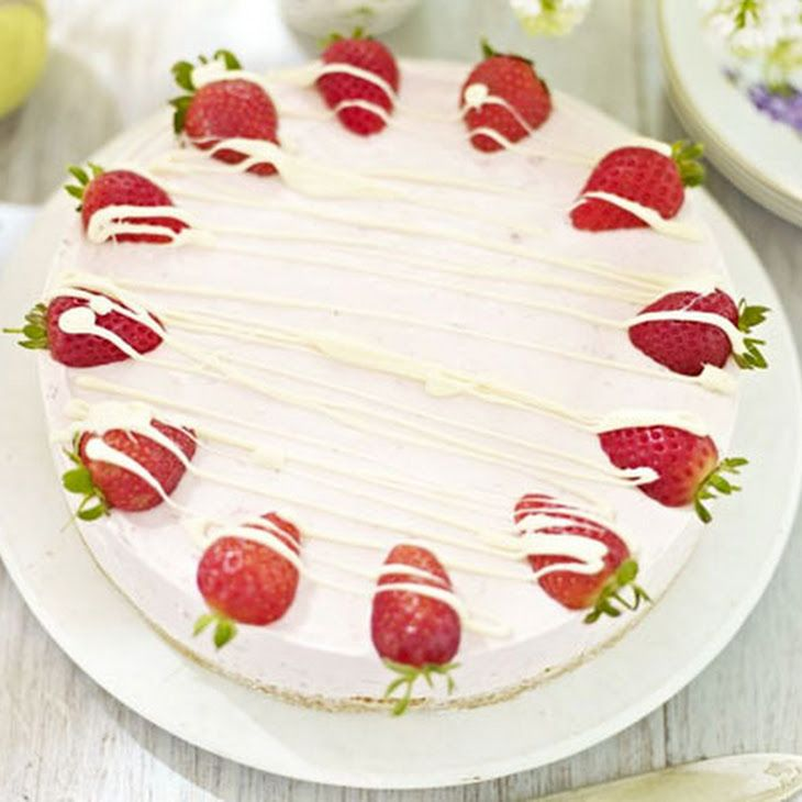Strawberry & White Chocolate Mousse Cake Recipe Desserts with biscuits, butter, white chocolate, strawberries, soft cheese, double cream