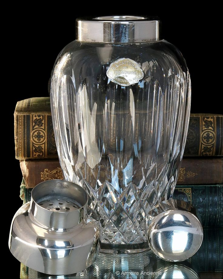 Art Deco Cut Crystal Cocktail Shaker, 1930s - Martini Mixer, Silver Plate Mounting - Bar Cart Accessories