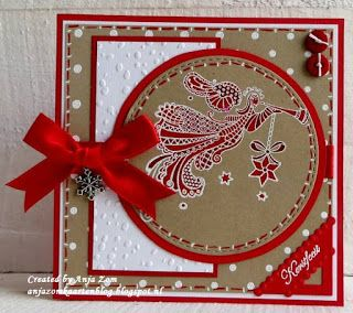 handmade Christmas card from Anja Zom map Blog ... kraft with bright white and red ... square format with circular focal area ... luv the doodle art angel ... great card!