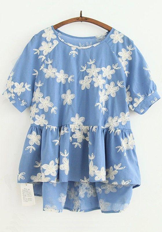 Denim Blue Flowers Embroidery Short Sleeve Blouse