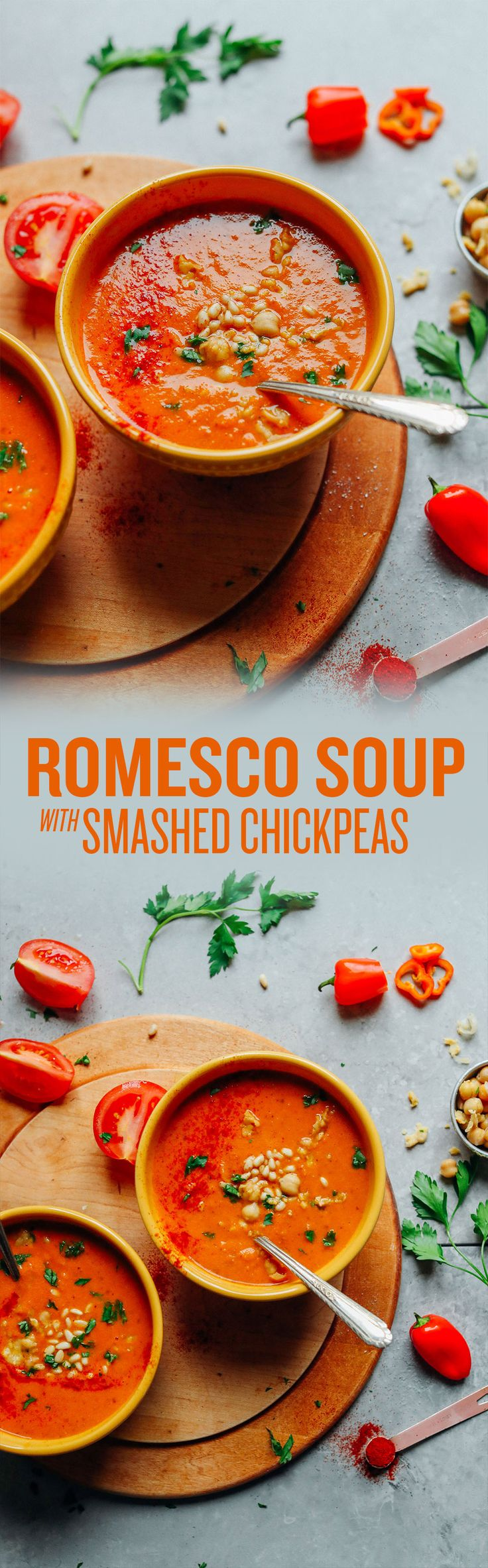 AMAZING Romesco Soup with Smashed Chickpeas! 10 ingredients, simple methods, BIG flavor!