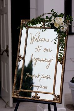 Vintage Gold Mirror Wedding Sign // Welcome Sign, Calligrahy, Romantic Wedding, Classic, Traditional