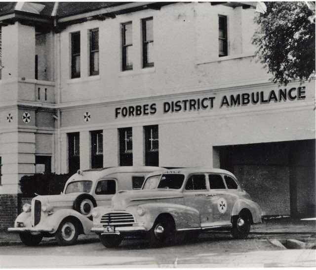 Australia, Forbes District Ambulance. 1938 Dodge and 1946 Chevrolet.