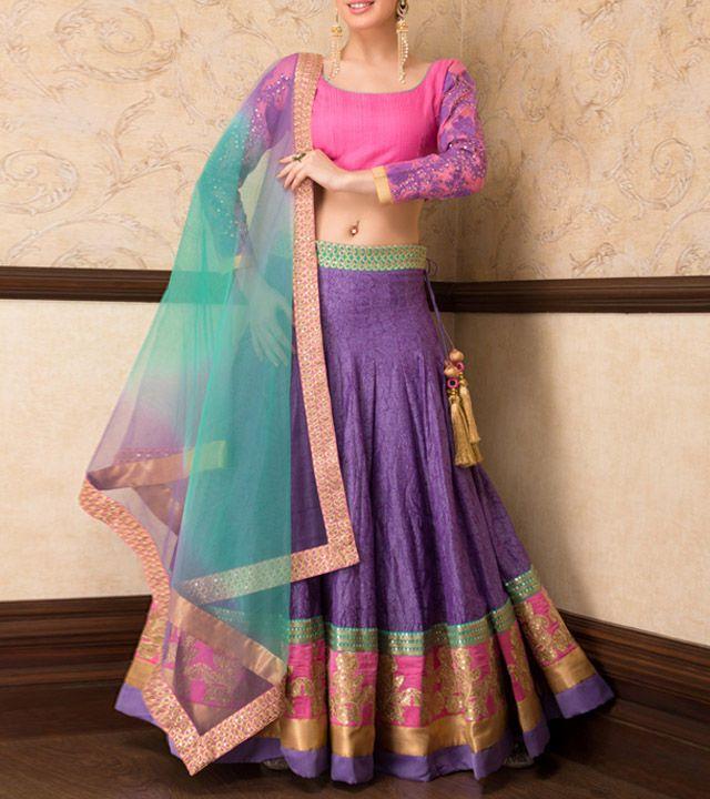 Pink & Purple Thread & Zari Embroidered #Lehenga, Choli & Dupatta By Sanskriti. Available At IndianRoots.
