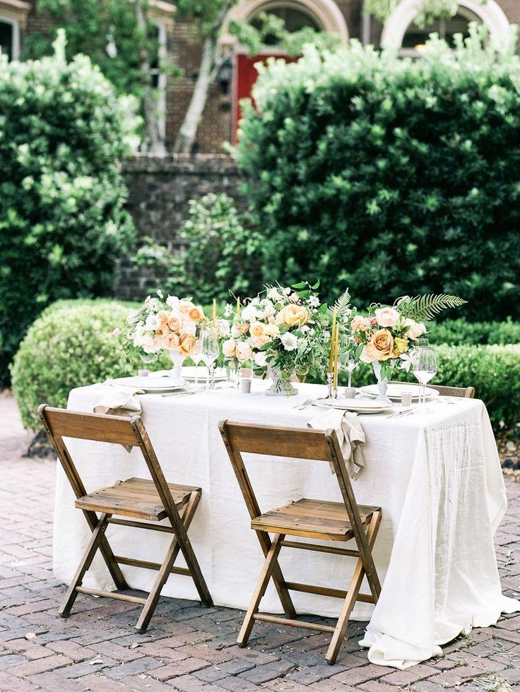 Peach & Yellow Elopement Sweetheart Table