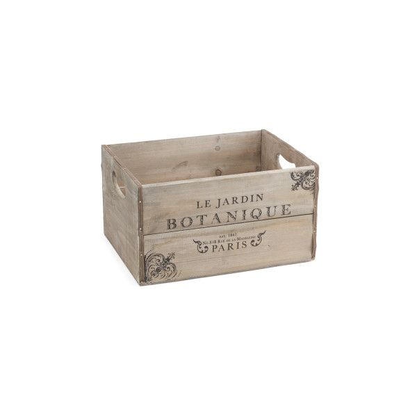 Large Vintage Wood Paris Storage Bin ($17) ❤ liked on Polyvore featuring home, home decor, small item storage, parisian home decor, storage bins, paris home decor and paris france home decor