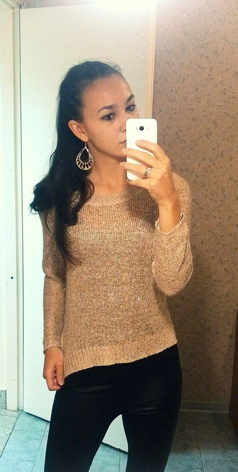 Gold sparkling sweater - Forever 21, Black leather leggins - ZARA | Go Rock to a Concert or Work!