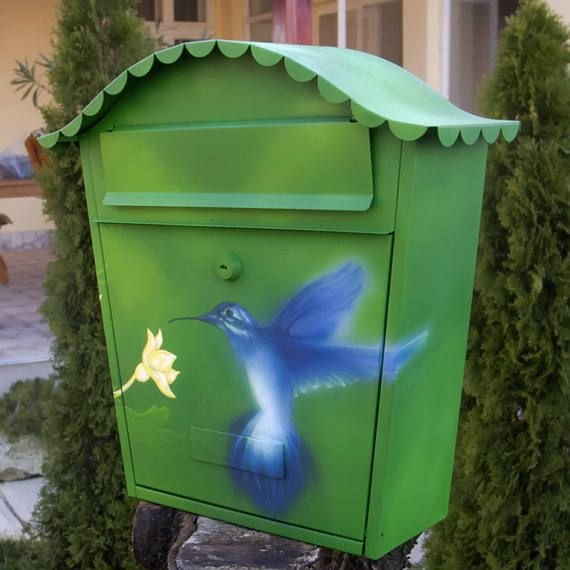 Hand Painted Mailbox Hummingbird hand painted letter box