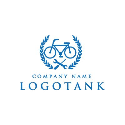 自転車と工具のロゴ 自転車,修理,パンク,販売,ロードバイク,エンブレム,店舗,ロゴ,作成,制作